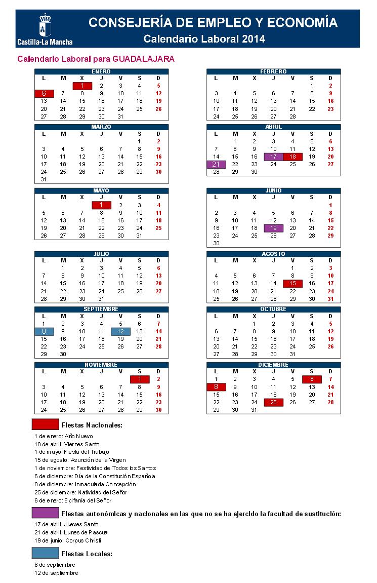 Calendario Laboral Guadalajara 2014